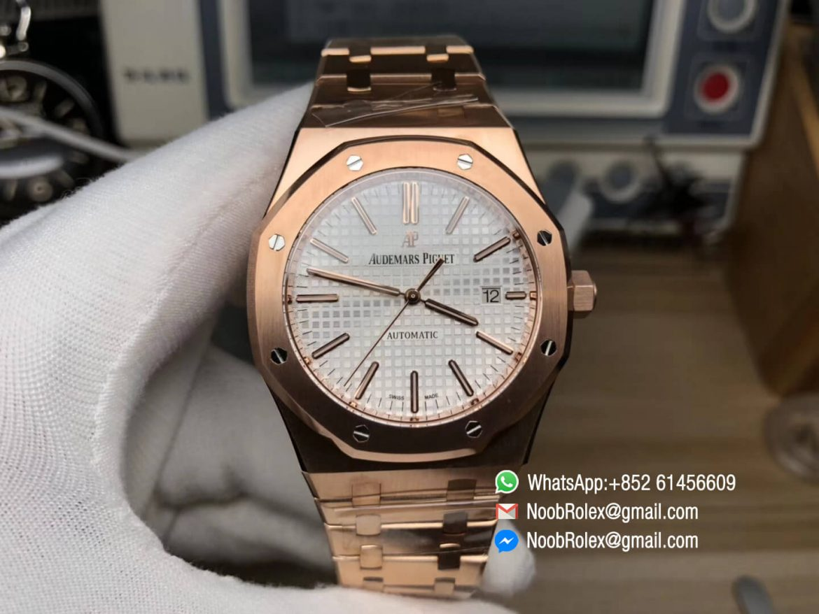 AP Royal Oak 41mm 15400 Rose Gold Plated White Textured Dial on Rose Gold Bracelet A3120 JF Best Replica Edition V5 01