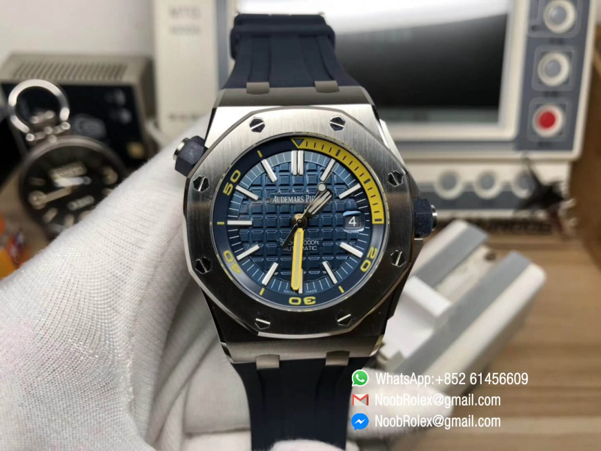 AP Royal Oak Offshore Diver 2017 Blue Dial 15710 on Rubber Strap A3120 Movement JF Best Edition Clone 01