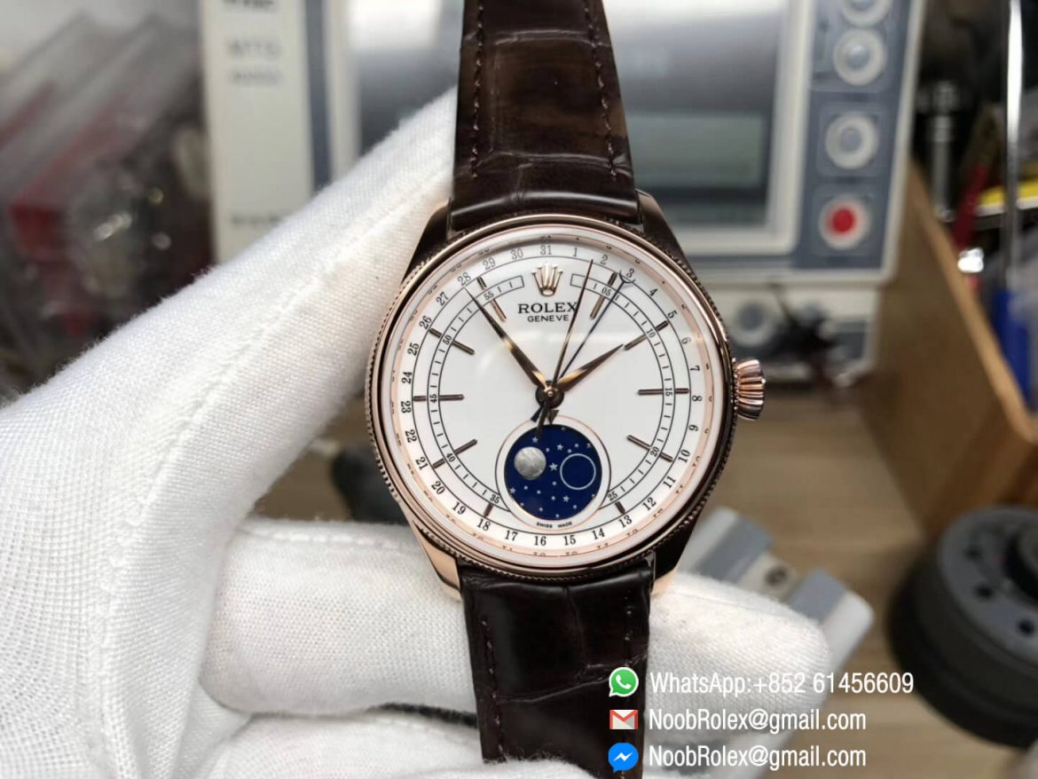 Cellini Moonphase Display Wristwatch Rose Gold Case 39mm White Dial Manual winding Movement Top Clone Quality 01