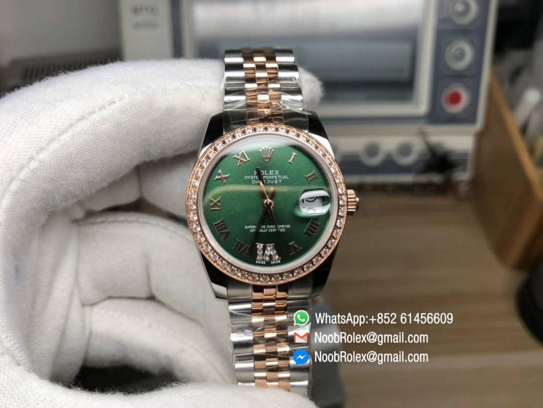 DateJust 36 Steel Rose Gold 126283 Green Dial Diamond Bezel Roman Markers A2824 RZF Best Edition 904L Steel 01