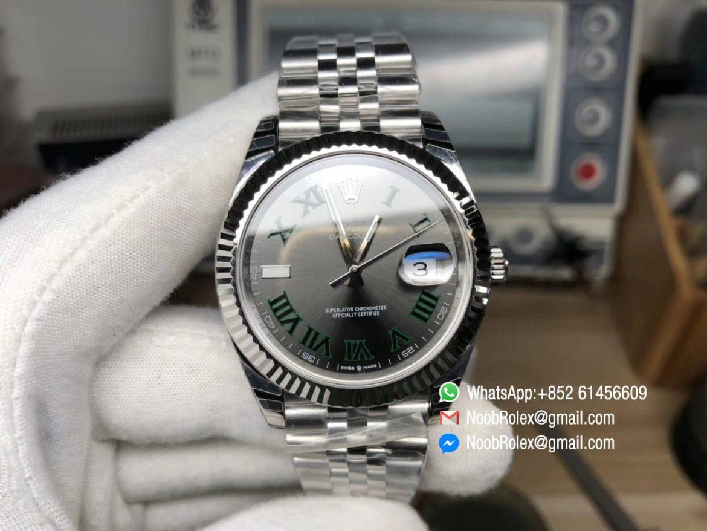 DateJust 41 126334 Clone Watch 904L Steel Case Gray Dial Roman Markers on Jubilee Bracelet A2824 RZ Factory Best Edition 01