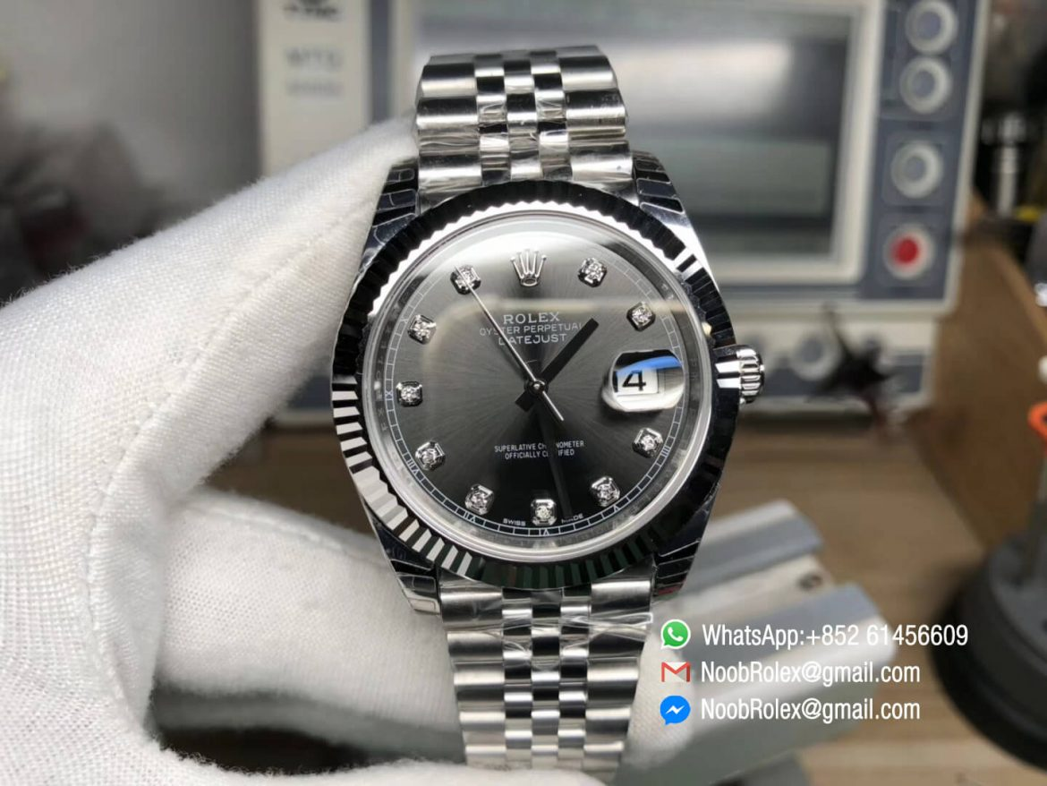 DateJust 41 126334 Fluted Bezel Gray Dial Diamonds Markers on Stainless Steel Case Jubilee Bracelet A3235 Noob Top Fake Quality 01