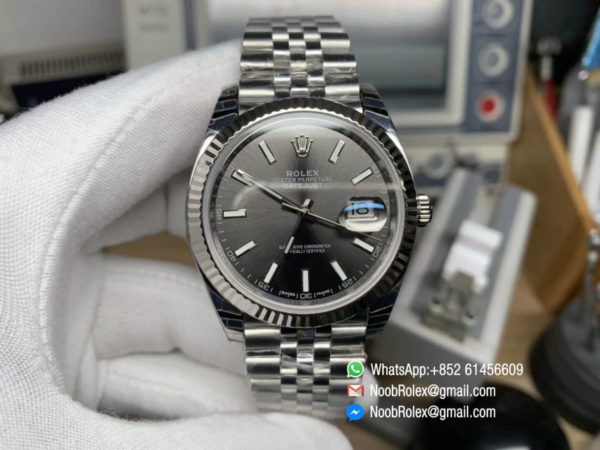 DateJust 41 126334 Noob Factory Best Edition Fluted Bezel Gray Dial Stick Markers on Stainless Steel Case Jubilee Bracelet A3235 01