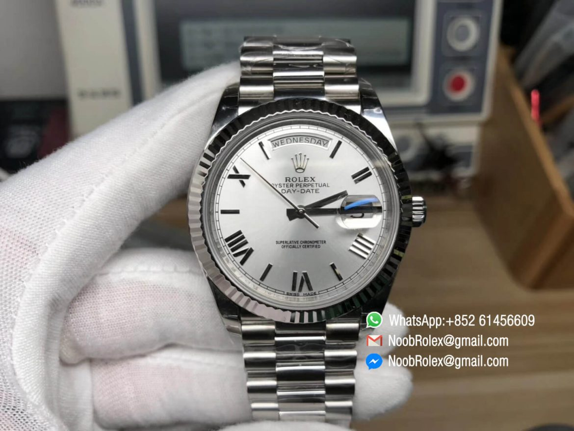 Day Date 40 228239 316L Stainless Steel Case Silver Dial Roman Markers on President Bracelet A3255 Movement Noob Best Edition 01