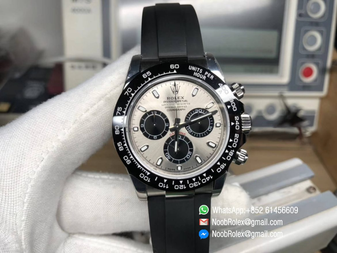 Daytona 116519 Noob Top Clone Level Best Edition SA4130 Movement 904L Stainless Steel Case GrayBlack Dial on Black Rubber Strap 01
