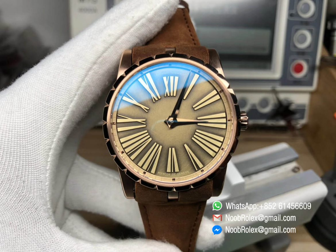 Excalibur 42mm Dbex0050 Rose Gold Case RDF Best Edition Brown Dial on Brown Leather Strap A830 Micro Rotor Movement 01