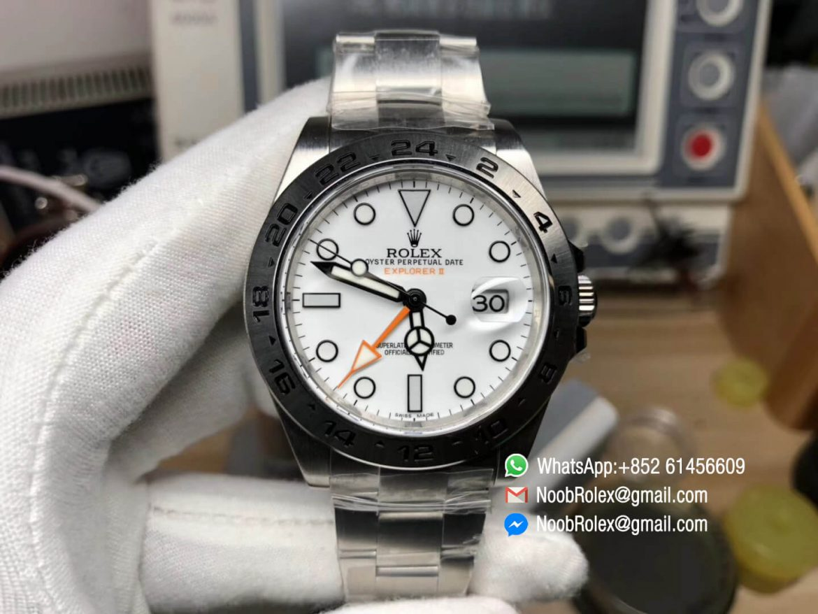Explorer II 42mm 216570 Noob Best Quality Edition White Dial SA3187 Movement GMT Function Correct Hand Stack Thickness same as Genuine 01