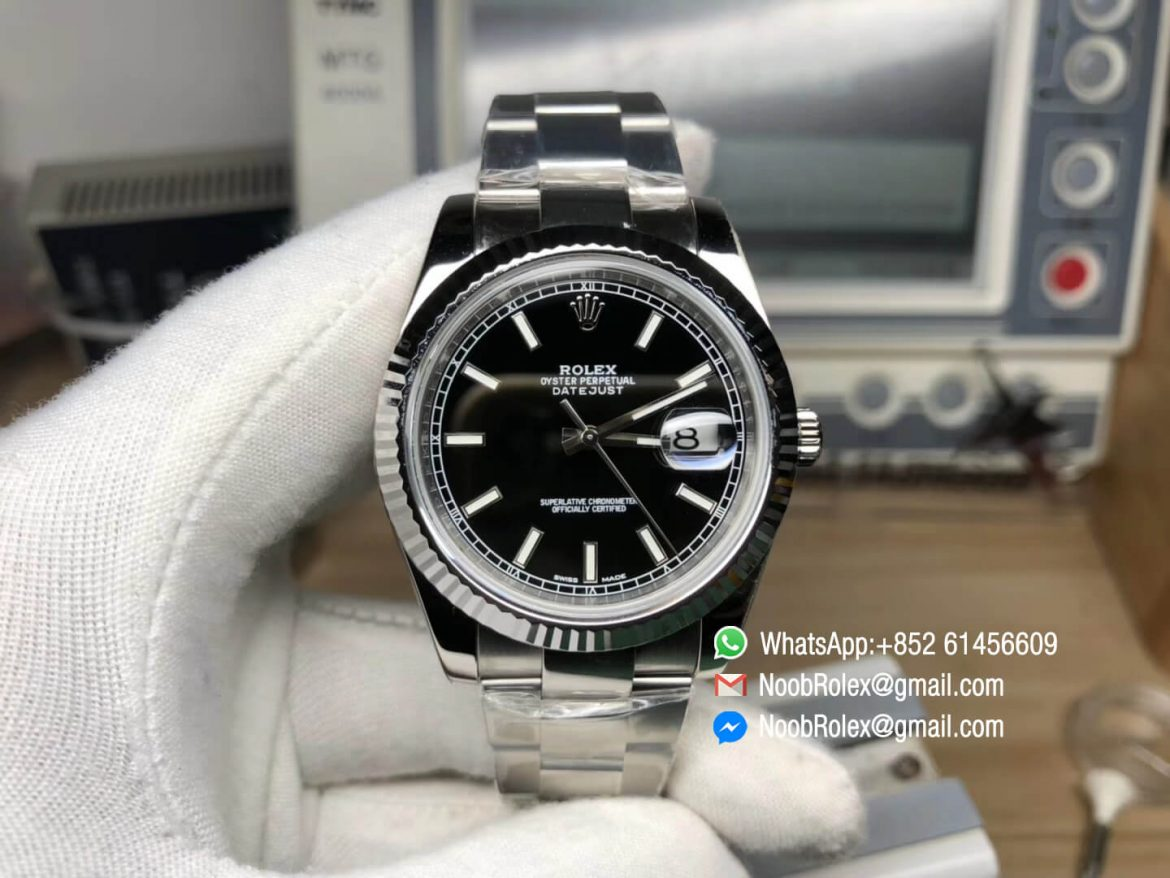 Oyster Perpetual DateJust 36 904L Steel Case 116234 Black Dial Stick Markers on Steel Bracelet SA3135 Top Clone Watch The Best Edition 01