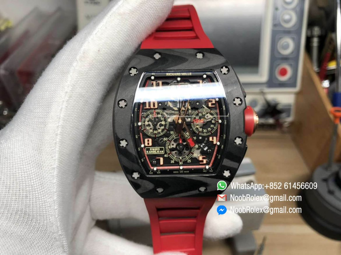 RM011 Lotus F1 Team Limitied Edition Carbon Case Chronograph KVF Best Edition Crystal Skeleton Dial Red on Red Rubber Strap A7750 01