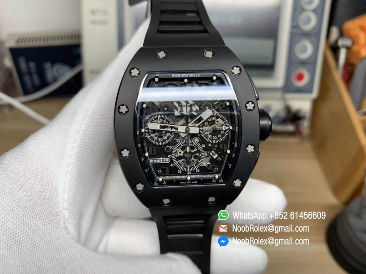 RM011 Real Ceramic Case Chronograph Rep Watch Crystal Skeleton Dial Black on Black Rubber Strap A7750 KVF Top Level Quality 01