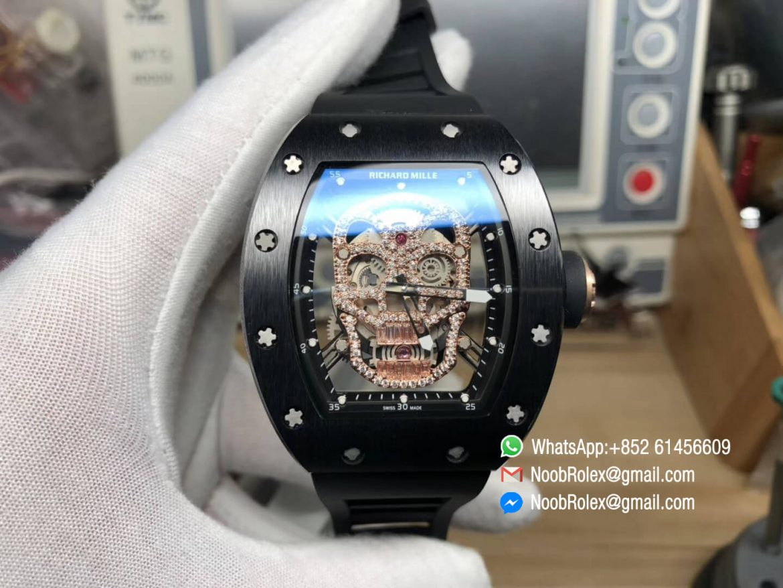 RM052 Black Ceramic Bezel Full Paved Rose Gold Diamonds Skull Dial on Black Rubber Strap MIYOTA8215 01