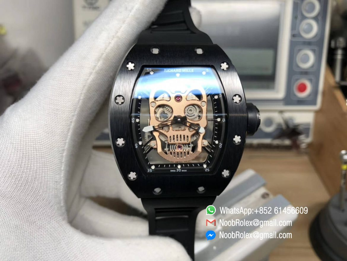 RM052 Titanium Case Gold Skull Skeleton Dial Black Rubber Strap MIYOTA 8215 Movement 01