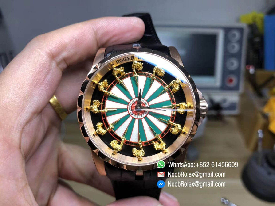 Roger D Excalibur Knights of the Round Table II Rose Gold Case Checkerboard Dial on Black Leather Strap MIYOTA 6T15 01