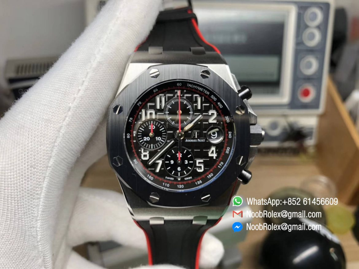 Royal Oak Offshore 26470SO 2018 SIHH Dark Knight Theme Black Dial Black Red Rubber Strap Chrono A3126 JF Best Edition 01