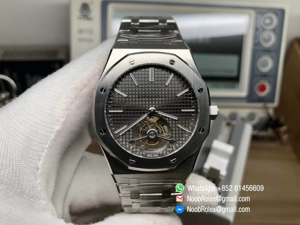 Royal Oak Tourbillon Extra thin Stainless Steel Case Gray Textured Dial Hand winding Movement on Steel Bracelet JF Top Clone Best Edition 01