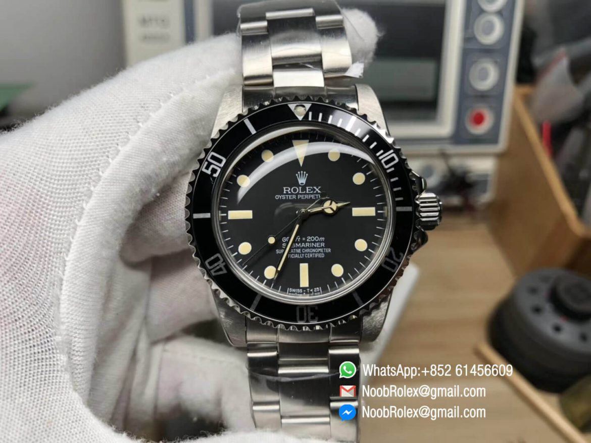 Vintage Submariner No Date Stainless Steel Black Dial Bracelet Plexi Plastic Crystal on Asian 2836 Movement 01