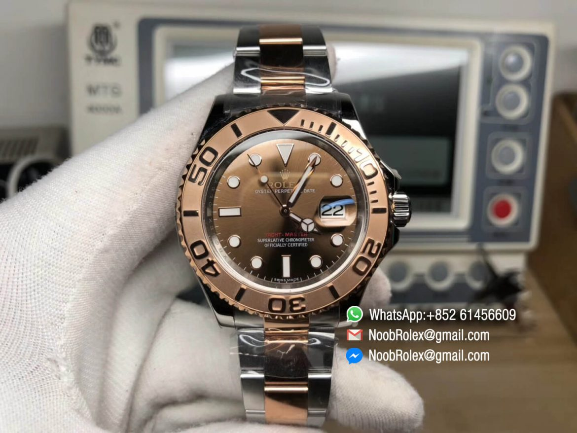 Yacht Master 116621 Rose Gold Wrapped Bezel Brown Dial Steel and Rose Gold Bracelet SA3135 GMF Best Edition Top Quality Rep Wristwatch 01