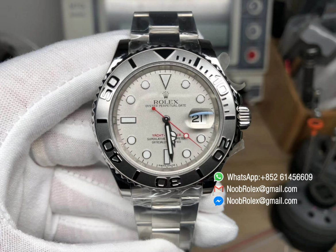 Yacht Master 116622 GM Factory 904L Steel Best Edition Silver Dial Red Hand on Steel Bracelet Asian 2824 Movement 01