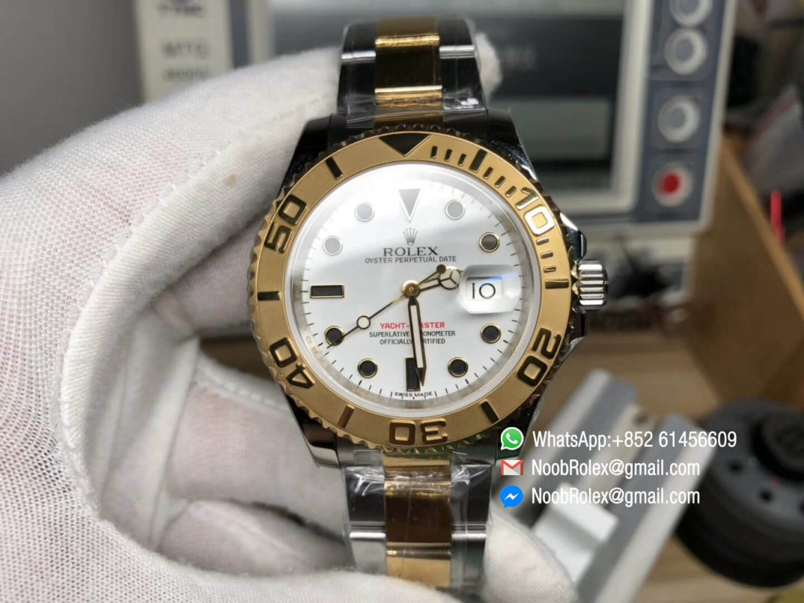 Yacht Master 16623 JF Best Edition White Dial on Steel Yellow Gold Two Tone Bracelet Asian 2836 Movement 01