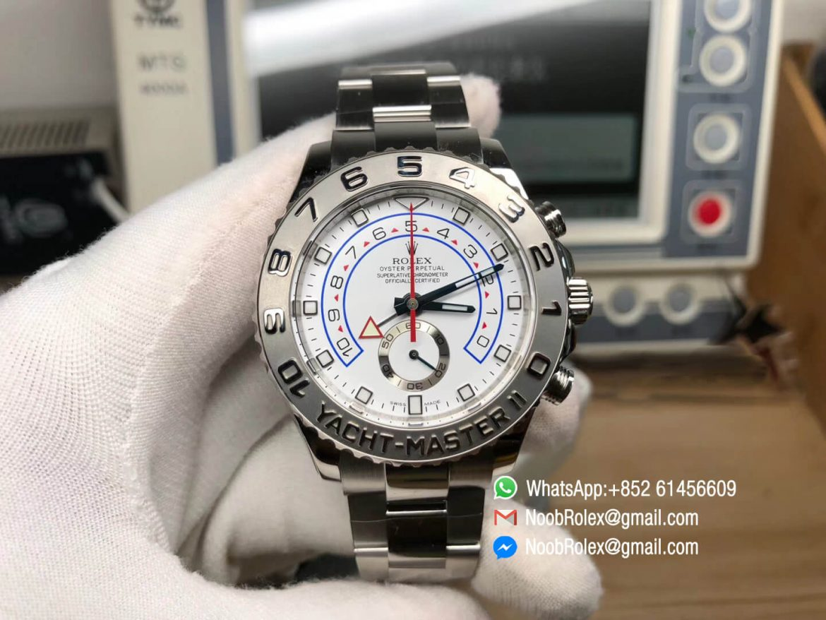 Yacht Master II 116689 Stainless Steel Case White Dial Red Chrono Hand and Second Subdial on Steel Bracelet A7750 JF Top Replica Best Edition 01