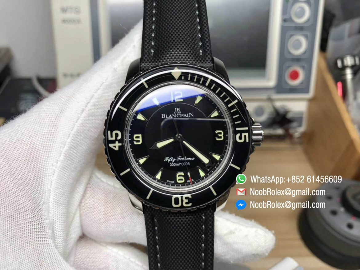 Fifty Fathoms 5015 1130 52 Stainless Steel Case Black Dial on Sail canvas Strap A2836 2018 ZF Top Level Clone Quality 01