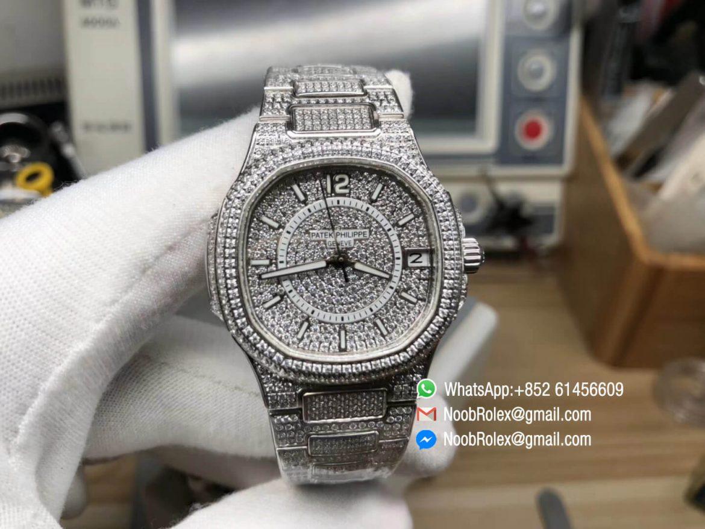 Nautilus Jumbo Ladies Watch 7021 Steel Case Full Paved Diamonds on Diamonds Plated Steel Bracelet MIYOTA 9015 Movement 01