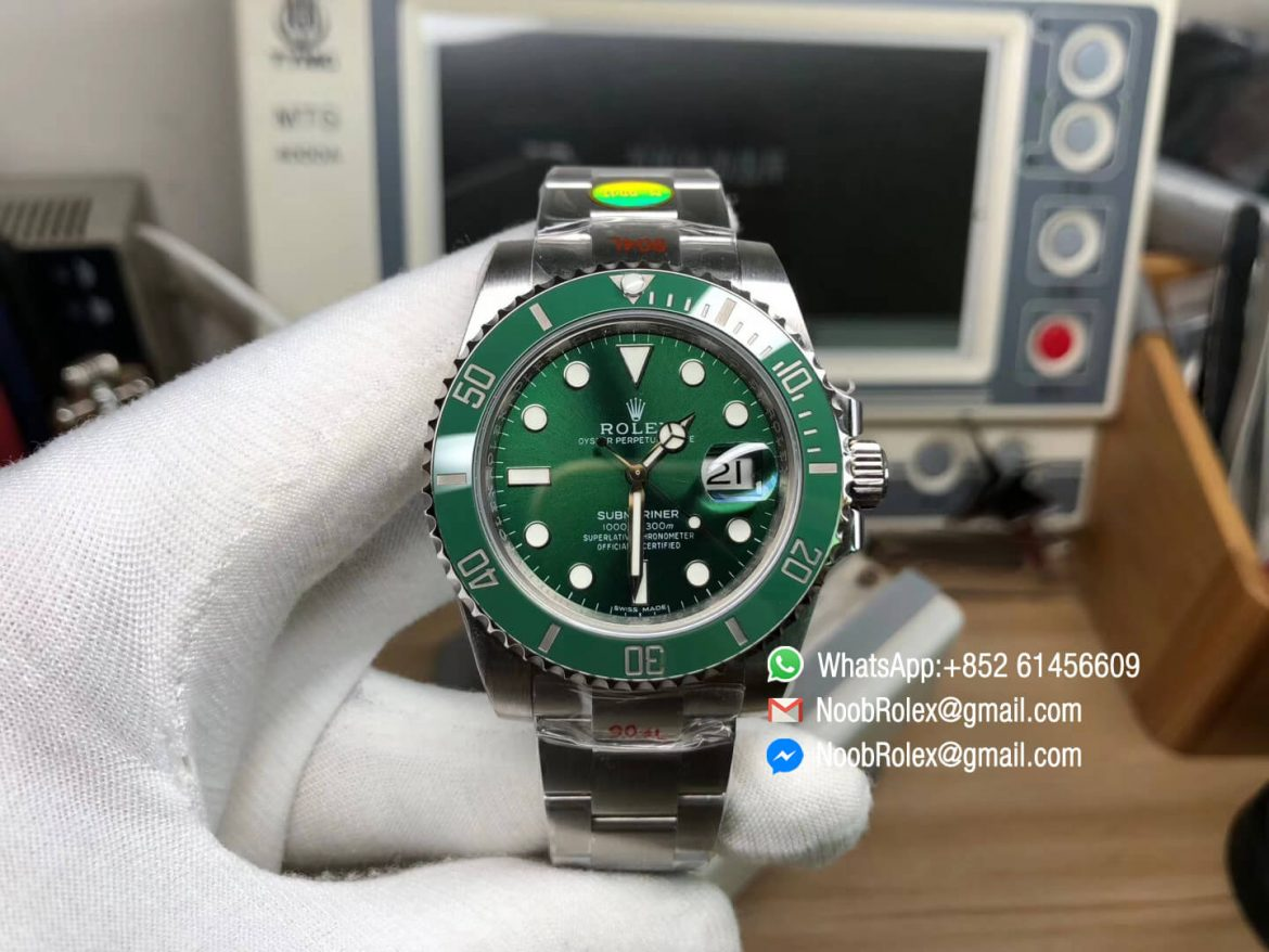 Noob V10 Hulk Submariner Ref 116610LV Green Dial with Clean Green Ceramic Bezel 904L Stainless Steel Case and Bracelet SA3135 Movement 01