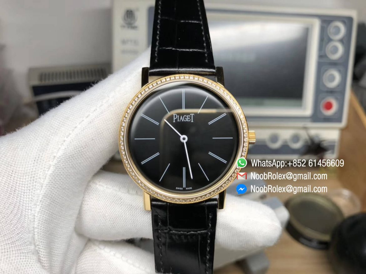 Piaget Altiplano Watch Yello Gold Case Black Dial with Diamonds Bezel on Black Leather Strap MIYOTA 9015 OX Factory Best Edition 01
