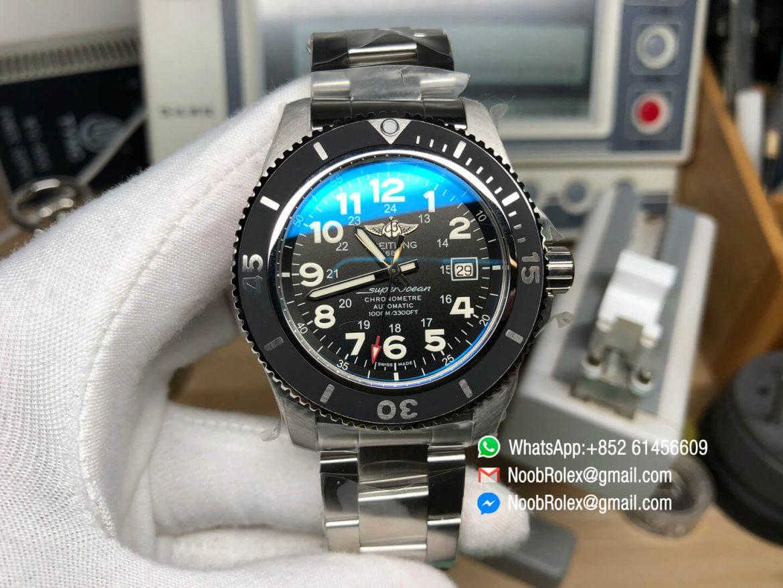 SuperOcean II Watch A17392D7 BD68 162A 44mm Black Dial on Stainless Steel Bracelet A2824 GF Top Clone 01