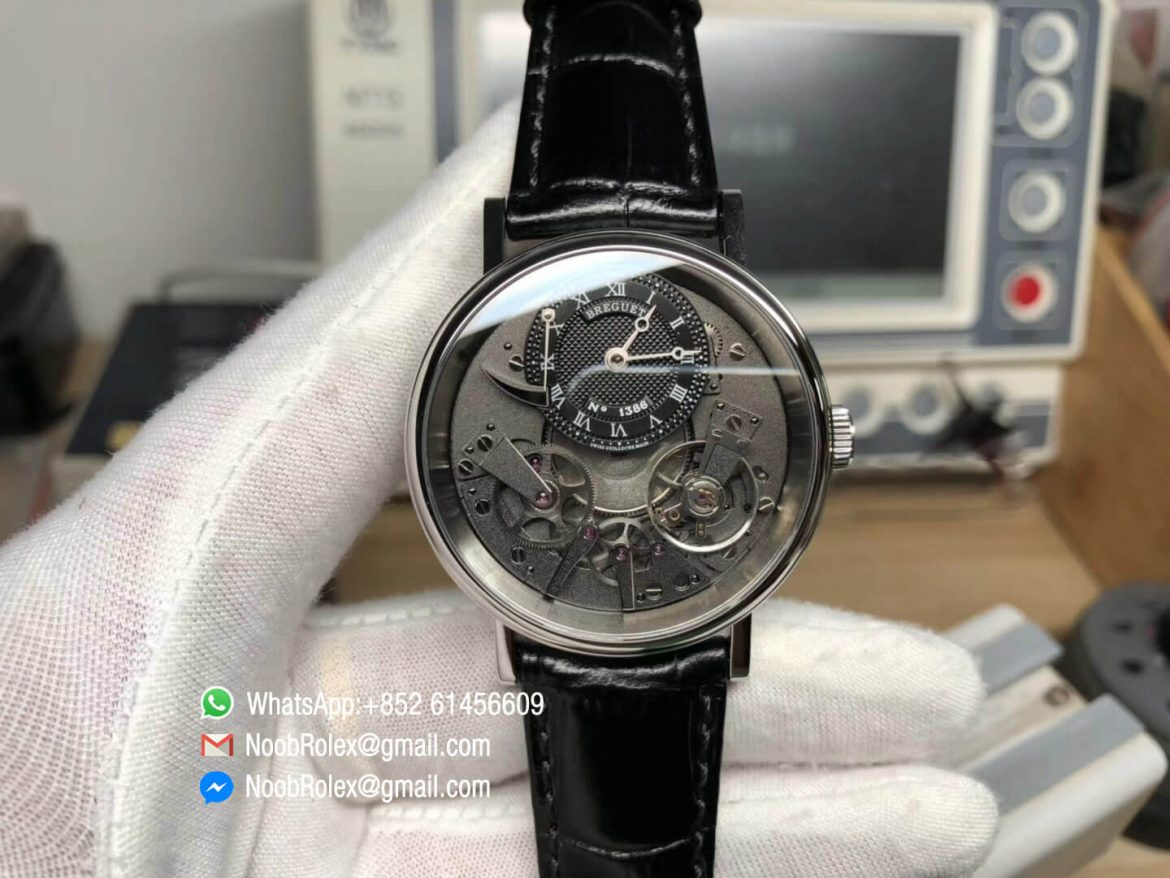 Tradition 7057BB G9 9W6 Steel Case Black Skeleton Dial On Black Leather Strap A507 Super Clone Quality Best Edition 01