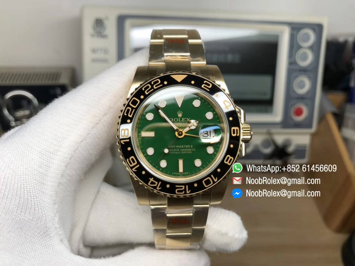 GM Factory GMT Master II 116718LN Plated Yellow Gold on 904L Steel Case and Green Dial with A3285 Correct Hand Stack 01
