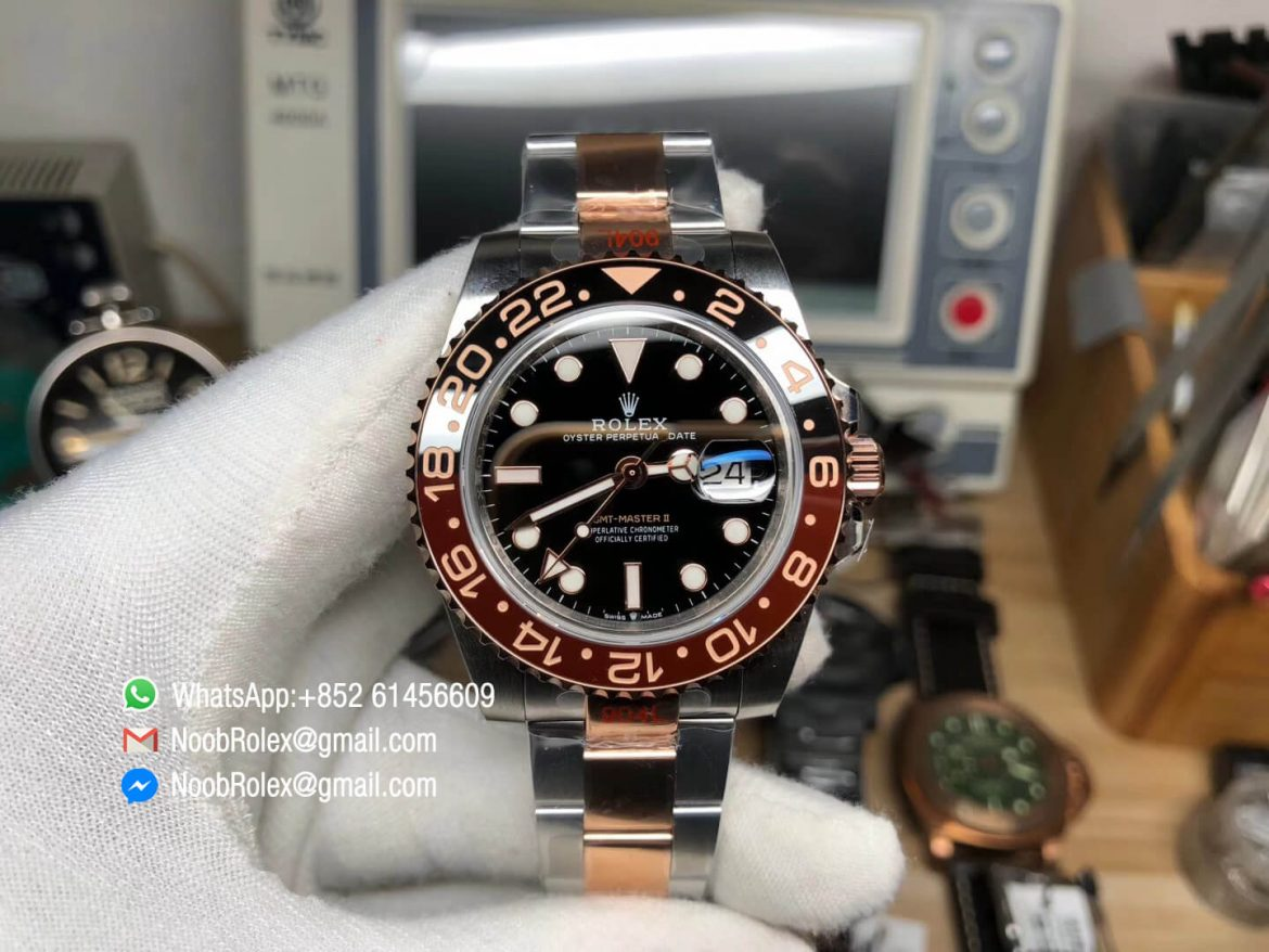 GMF GMT Master II 126711CHNR 904L Steel Case with Black Brown Bicolor Bezel 904 Steel Bracelet with Rose Gold plated middle links A3285 Correct Hand Stack 01
