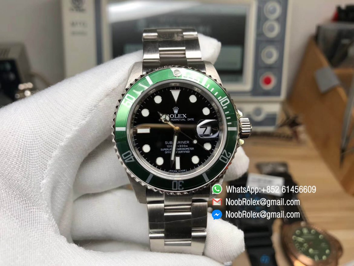 JF Best Vintage Rolex Submariner 16610LV Green Metal Bezel Black Dial on Stainless Steel Case Bracelet SH3135 Movement 01