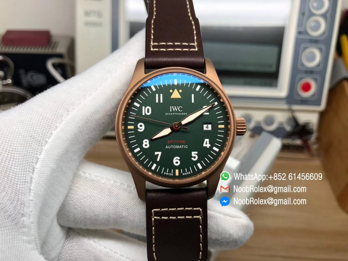 MKF Best Replica IWC IW326802 Spitfire Automatic Bronze Case Green Dial on Brown Leather Strap MIYOTA 9015 01