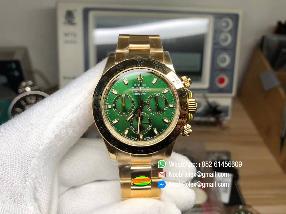 Noob Watch Daytona 116508 SA4130 V3 Plated 18K Yellow Gold on 904L Steel Case and Bracelet Green Dial Real Chrono Function Thickness Same as Gen 01