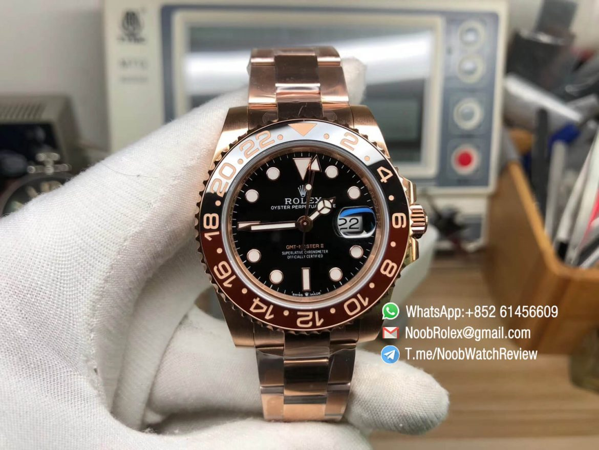 GMF Top Replica Rolex GMT Master II 126715CHNR Full Rose Gold Plated 904L Steel A3285 Correct Hand Stack 01