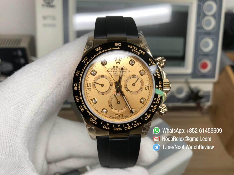 JH Factory Rolex Daytona 116518LN 40mm Champagne Dial Diamond Markers on Black Rubber Strap A4130 Chrono Movement 01
