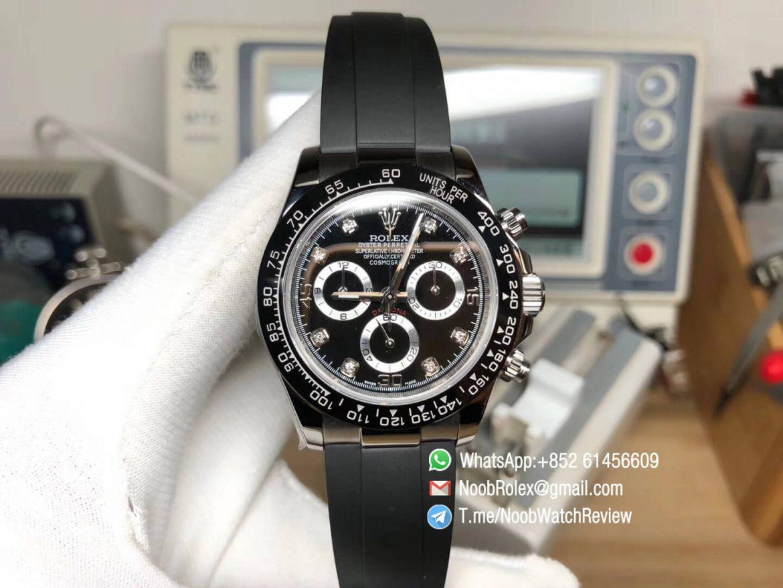 Noob Factory Daytona 116519 904L Steel Case Black Dial Diamonds Markers on Black Rubber Strap SA4130 V2 01
