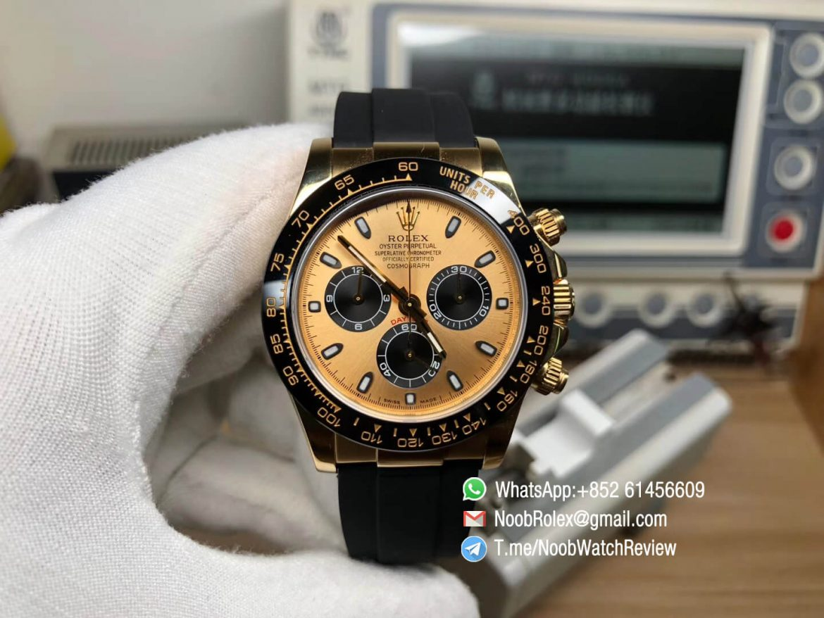 Noob Rolex Daytona 116518 Yellow Gold Plated 904L Steel Case Yellow Gold Dial wtih Black Sub dial on Black Rubber Strap SA4130 V3 01