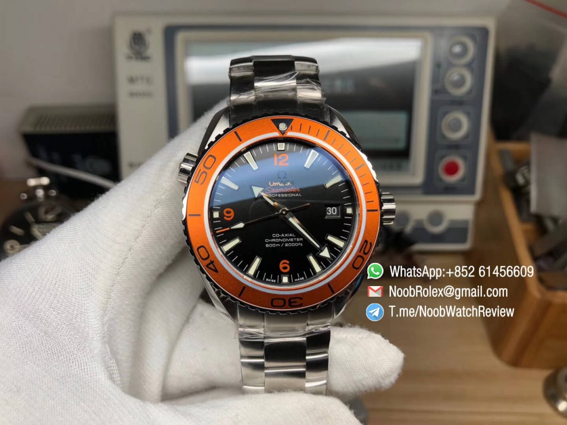 VS Factory Planet Ocean Professional 600m CO AXIAL Orange Bezel 45mm Steel Bracelet A8500 Super Clone Movement 01