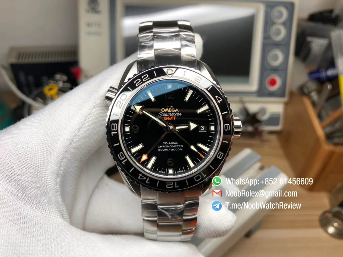 VSF Best Edition Planet Ocean 600M Co Axial 43mm GMT Black Dial Silver Markers on Steel Bracelet Asian Clone 8605 Movement 01