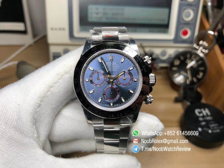 Noob Factory Rolex Daytona 116509 904L Steel Case Bracelet Blue Dial Super Clone Asian 4130 Movement V3 01