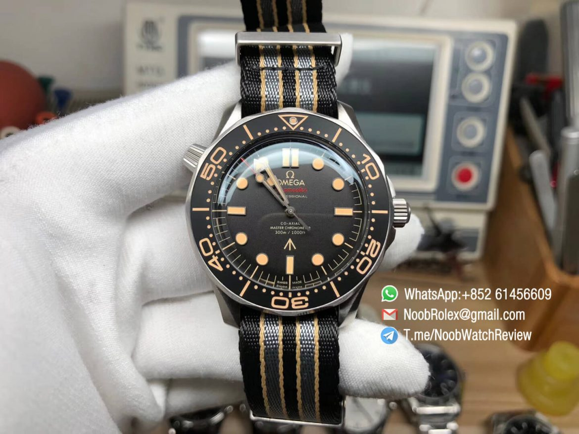 VS Factory High Clone Omega Seamster Diver 300M James Bond 007 No Time to Die Limited Edition on Nato Strap A8806 01