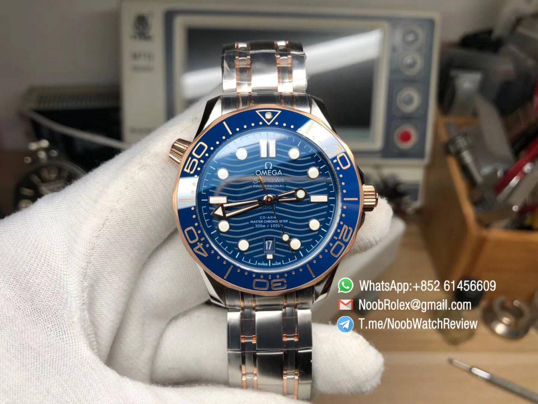 VSF Omega 2018 Seamaster Diver 300M Rost Gold Steel Two Tone Bracelet Rose Gold Bezel Blue Wave Textured Dial Super Clone A8800 01