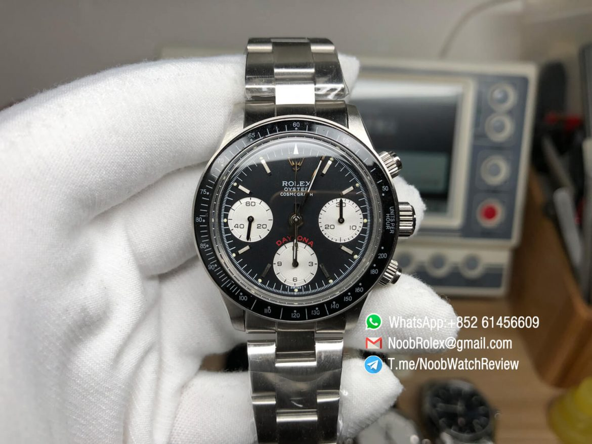 Vintage Rolex Daytona 6263 Steel Case Black Dial Black Tachymeter Bezel on Steel Bracelet Automatic Chrono Movement 01