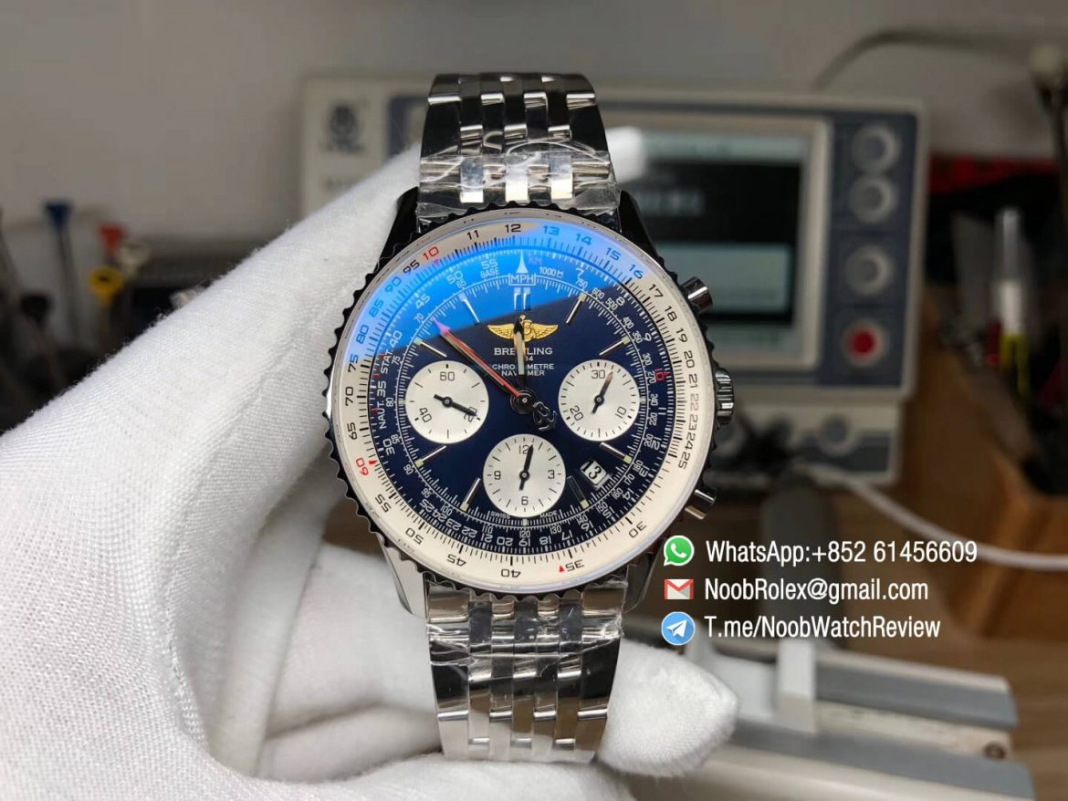 JF High Quality Breitling Navitimer 01 Chrono Stainless Steel Case Bracelet Blue Dial White Sub Dial on A7750 Best Edition 01