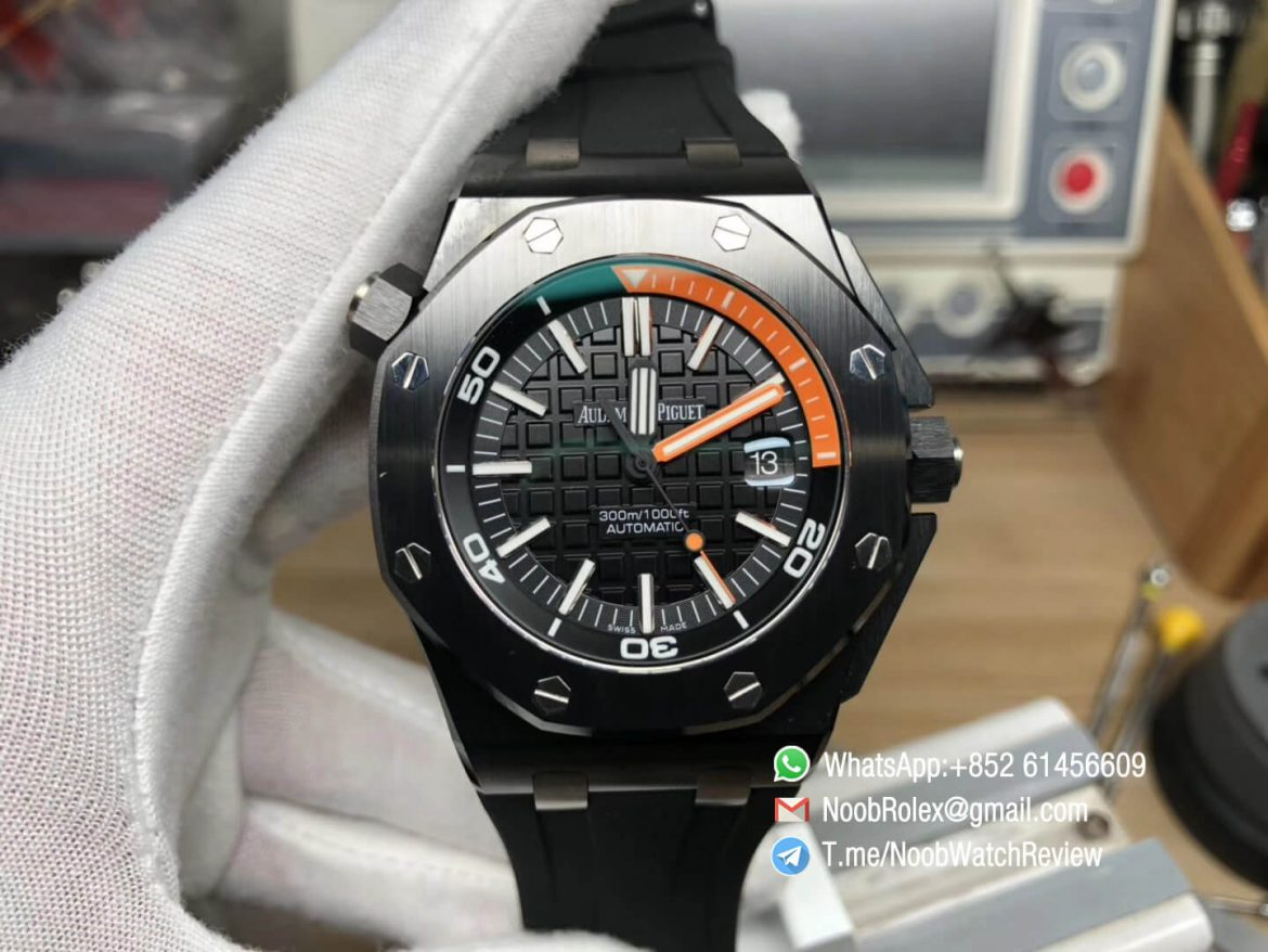 JF High Quality Rep Watch Royal Oak Offshore Diver AP 15707 Quarter Orange Index Ceramic Case on Rubber Strap A3120 01