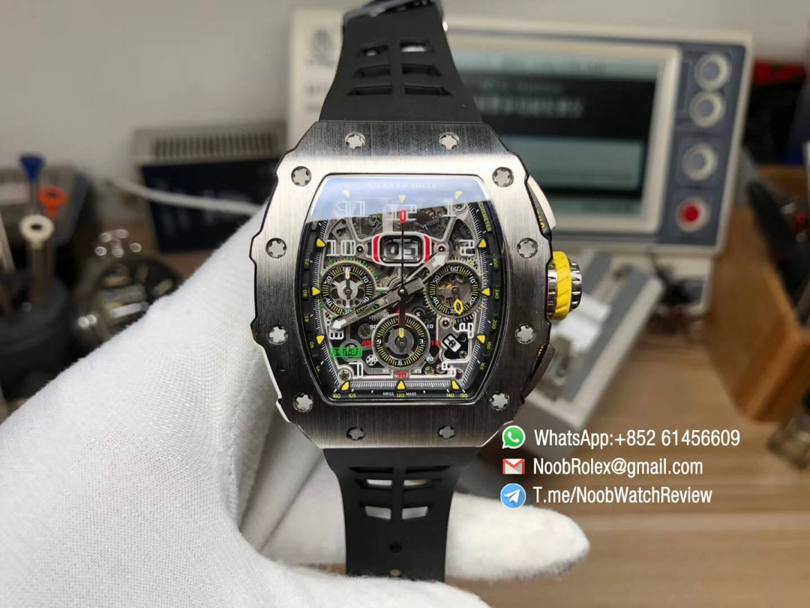 KVF Best Clone RM11 03 Crystal Skeleton Dial Steel Case Titanium Mid Case on Black Racing Rubber Strap A7750 Chrono Movement 01