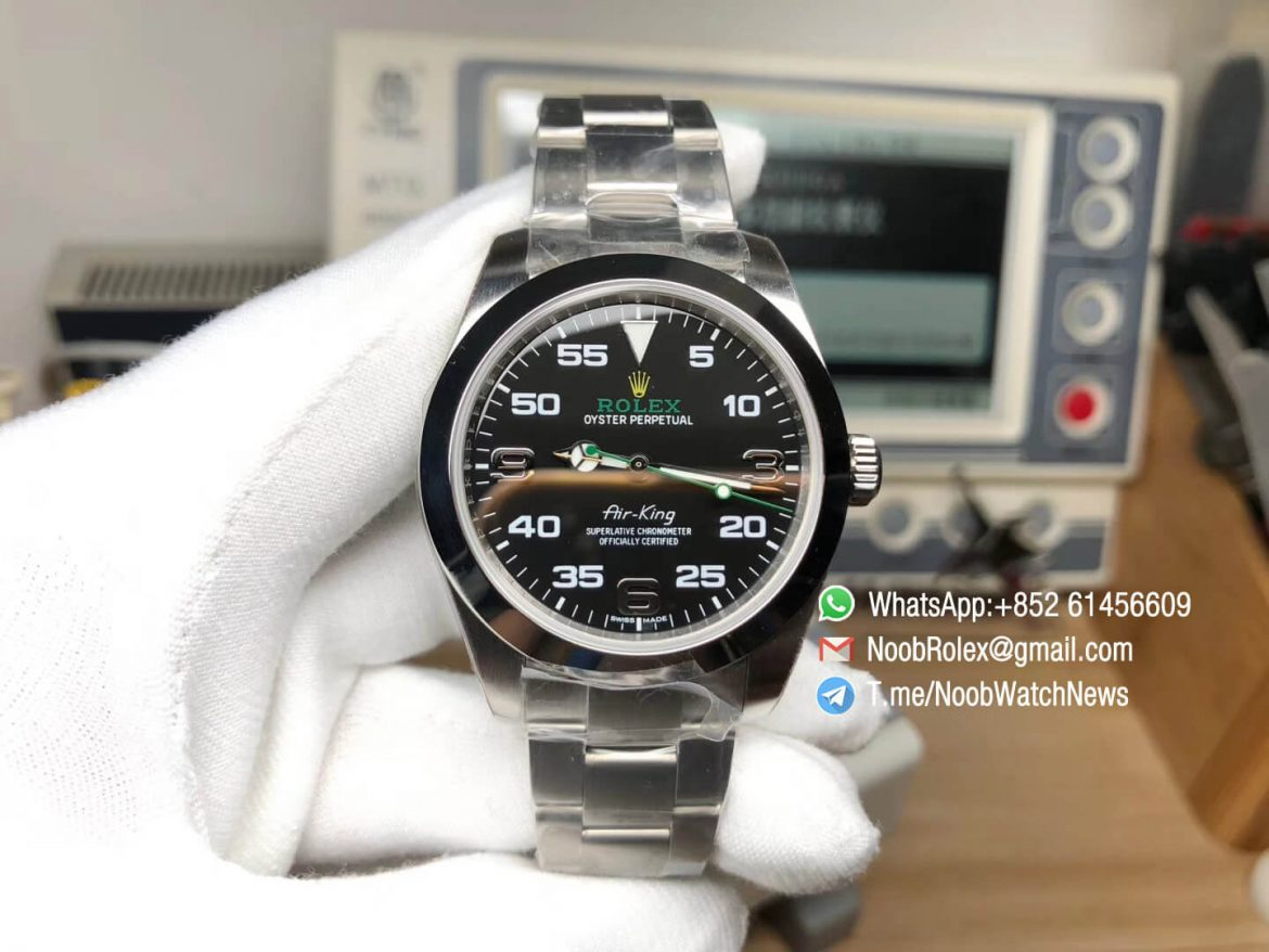 Noob Factory Rolex Best Quality Air King 116900 40mm Baselworld 2016 on Steel Case Bracelet A2836 01