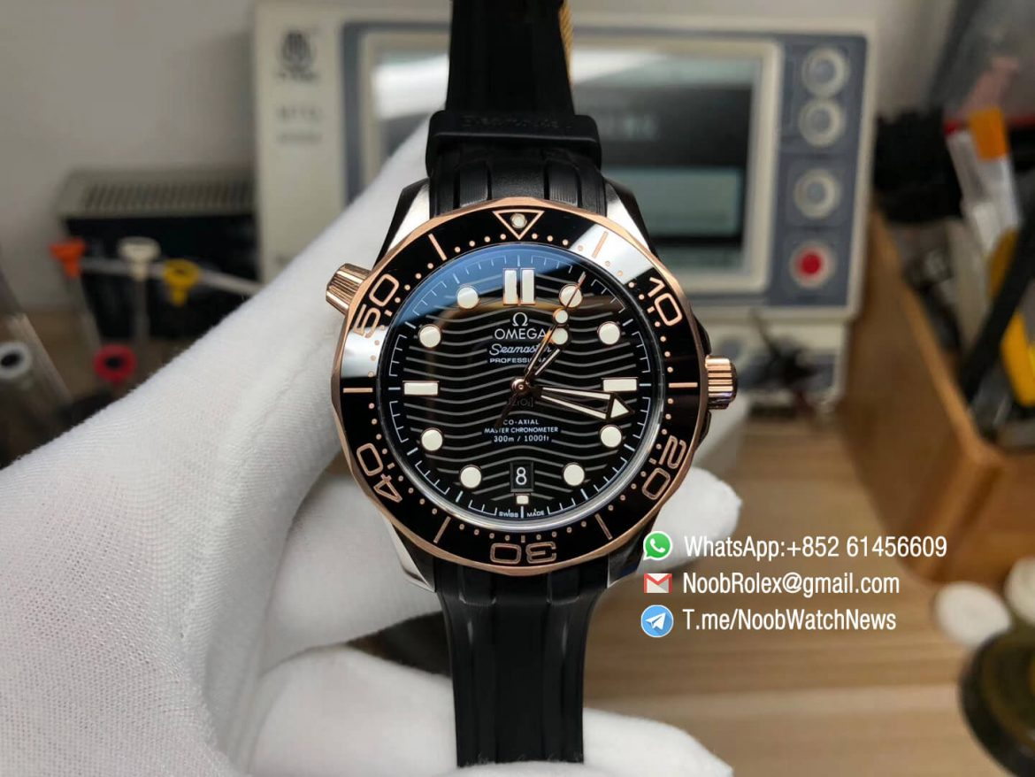 VS Factory 2018 Seamaster Diver 300M Steel Case Rose Gold Bezel Black with Wave Textured diaon Black Rubber Strap A8800 01